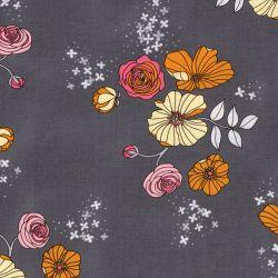 Tissu 100% coton Michael Miller fleurs fd gris larg 110cm