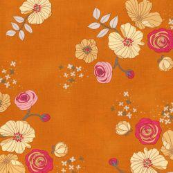 Tissu fleurs romantiques fond orange Michael Miller