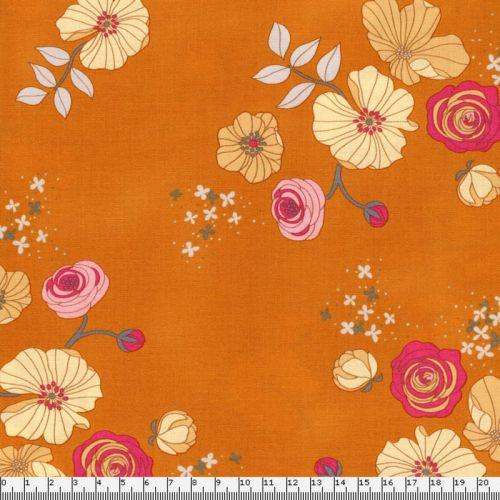 Tissu Michael Miller fleurs fond orange