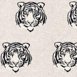 Tissu toile ottoman tigres fond beige