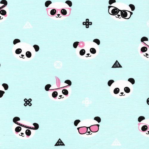 Tissu toile pandas fd bleu 75%co/25% larg 140 cm