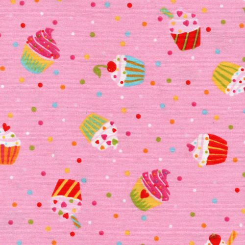 Tissu toile cup cakes 75%co/25% larg 140 cm