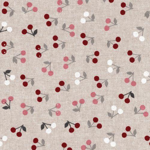 Tissu toile cerises 80%co/20%pe larg 140 cm