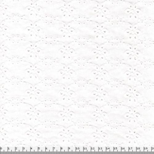 Tissu broderie anglaise fleurs 100% coton larg 136cm