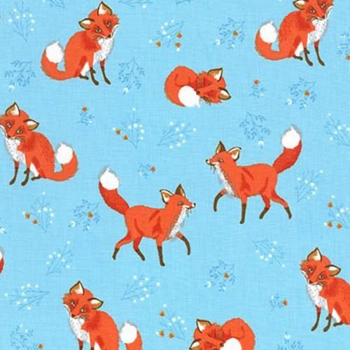 Tissu renards fond bleu RK coton