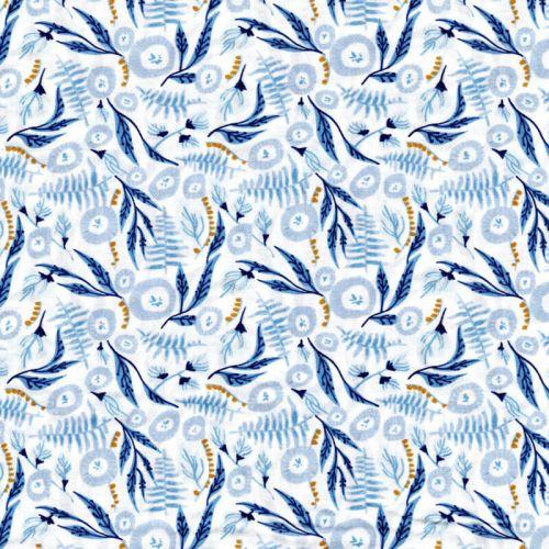 Tissu feuilles bleues 100% coton larg 110 cm