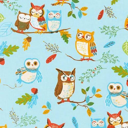 Tissu hibou fond bleu RK coton