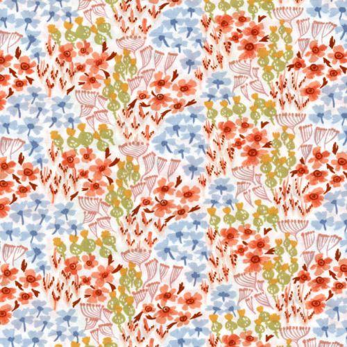 Tissu fleurs orange/vert/bleu 100% coton larg 110 cm
