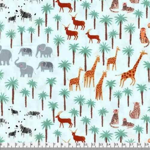 Tissu animaux de la savane fd menthe 100% coton larg 110 cm