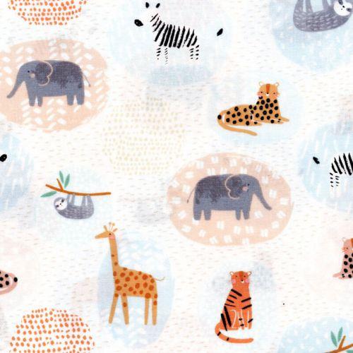 Tissu animaux de la savane ronds 100% coton larg 110 cm