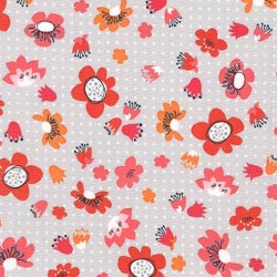 Tissu fleur rose, orange fond gris RK 100 % coto