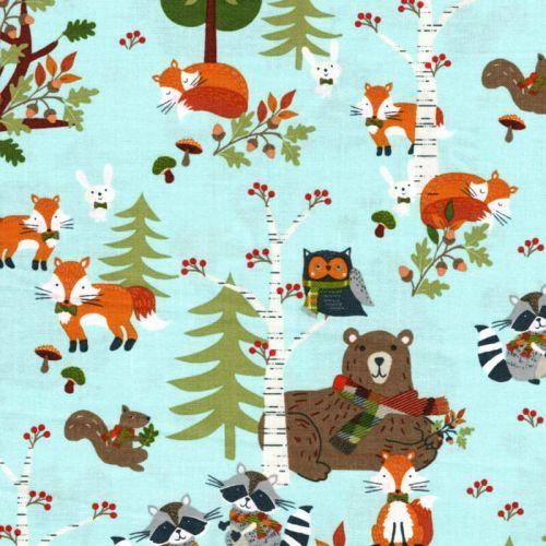 Tissu animaux de la forêt 100% coton larg 110 cm