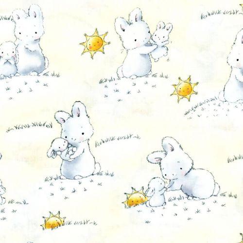 Tissu lapins soleil fd jaune 100% coton larg 110 cm