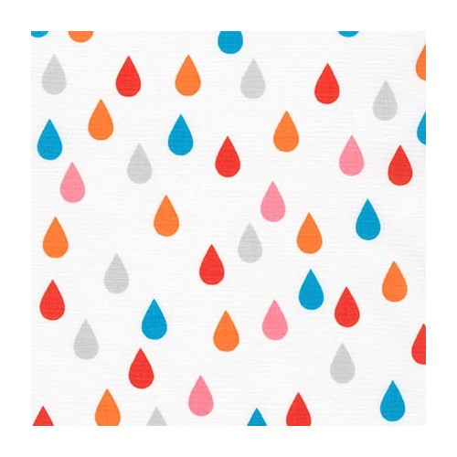 Tissu gouttes rose/orange fond gris RK 100 %coto