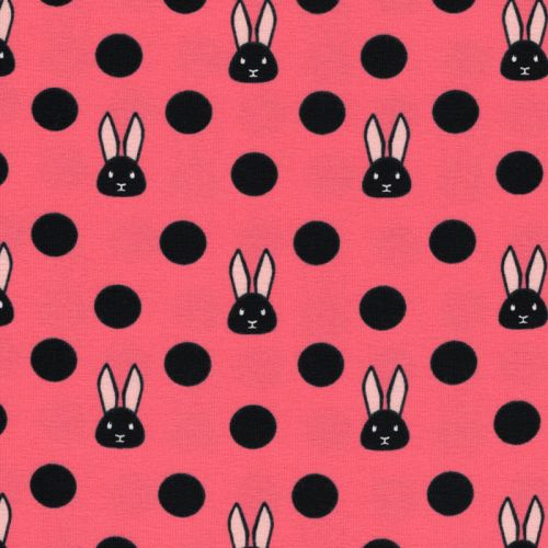Tissu jersey lapins fond rose