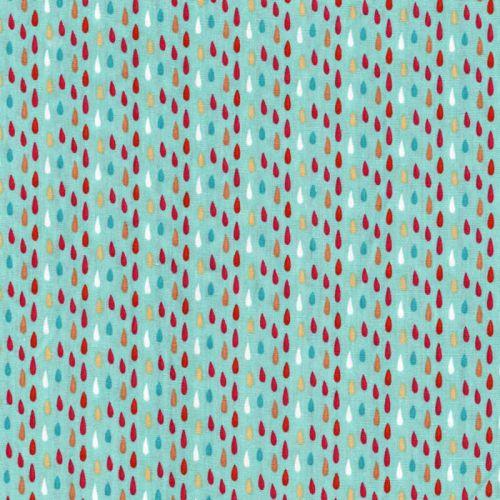 Tissu coton gouttes multicolores 100% coton larg 140 cm