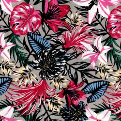 Viscose fleurs tropicales fond greige