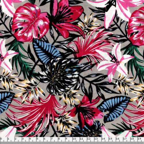 Tissu fleurs tropicales fond greige