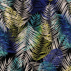 Tissu palmes violet vert