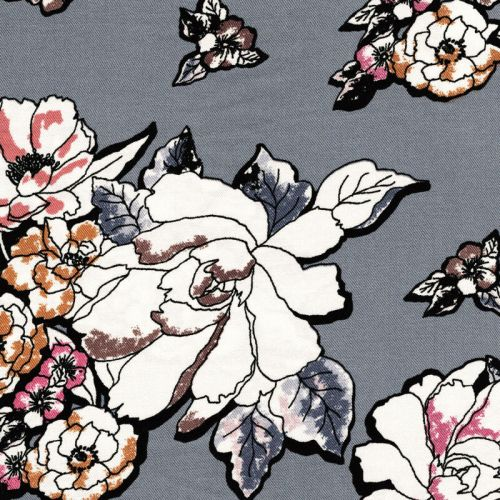 Viscose twill fleurs fond gris