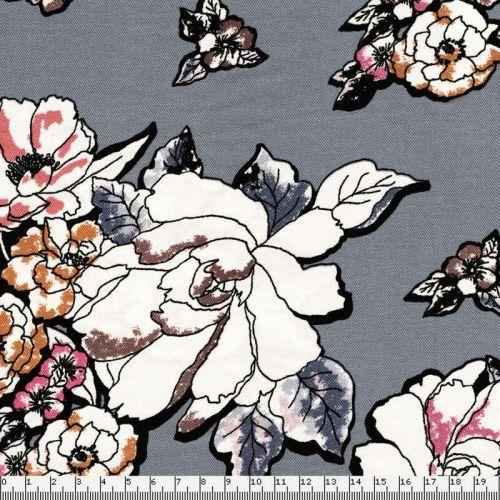 Tissu viscose twill fleurs fond gris