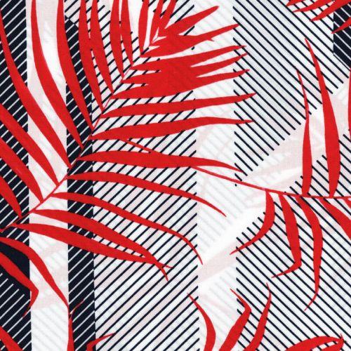 Viscose feuillage graphique rouge fond blanc