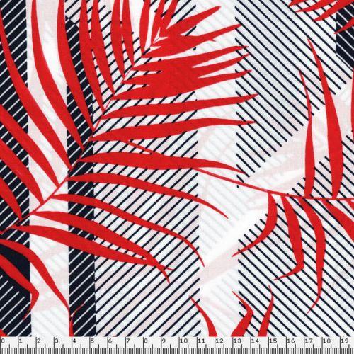 Tissu feuillage graphique rouge fond blanc