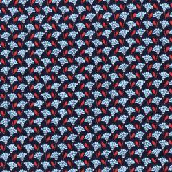 Tissu plumeau bleu/or fond marine