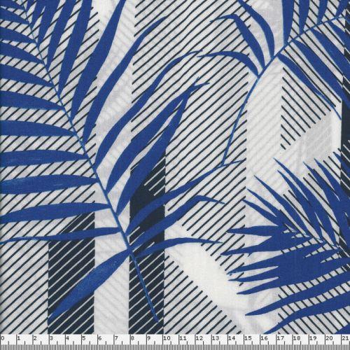 Tissu feuillage graphique bleu fond blanc 100%viscose larg 1