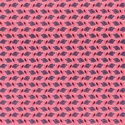 Tissu plumeaux marine et or fond rose