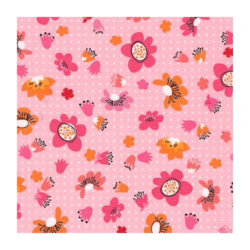 Tissu fleur rose, orange fond rose RK 100 % coto