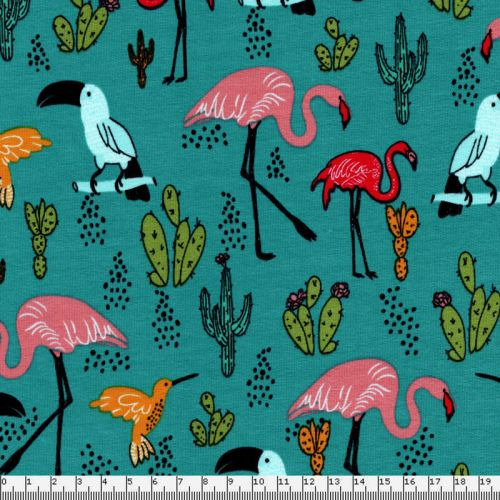 Tissu French Terry flamants roses perroquets fond bleu