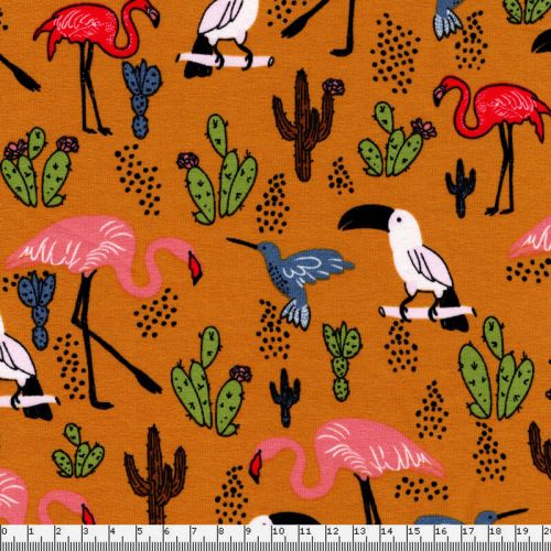 Tissu French Terry flamants roses perroquets fond moutarde