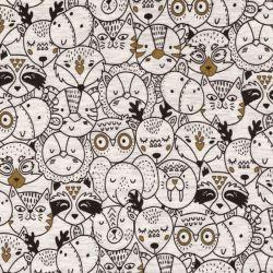 Tissu sweat foule d'animaux fond gris