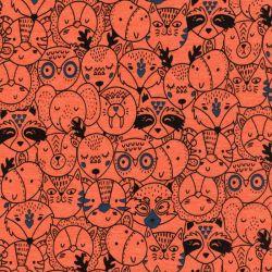 Tissu sweat foule d'animaux fd orange 60%cot/35%pl/5%el larg