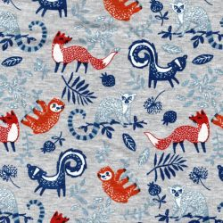 Tissu sweat foxes and friends fond gris chiné