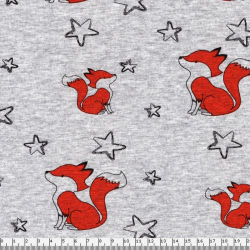 Tissu sweat  renards étoiles fond gris