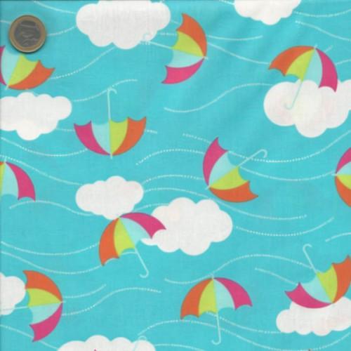 Tissu parapluies rose/orange fond bleu RK 100 %c