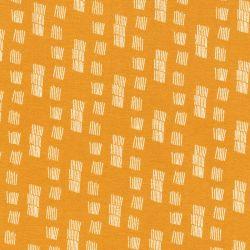 Tissu sweat funky stripes fond moutarde