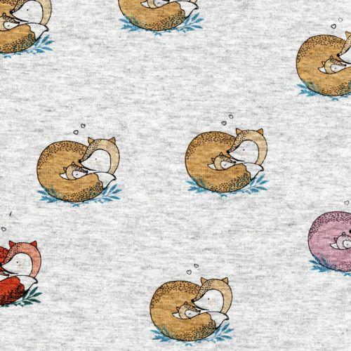 Tissu sweat renards romantiques fd gris 60%cot/40%pol larg 1