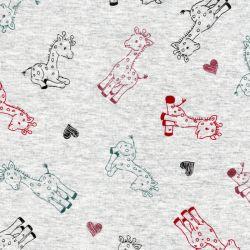 Tissu sweat jolies girages fond gris