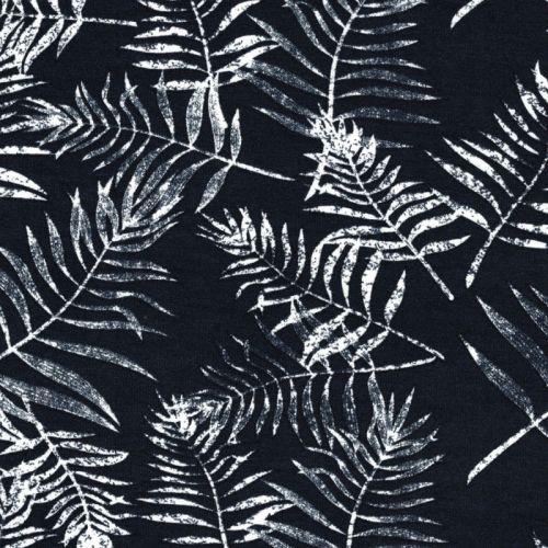 Tissu jersey marine feuillages blanc 95%vi/5%el larg 150 cm