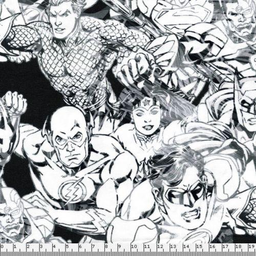 Tissu jersey Justice League 95%cot/5%el larg 150 cm