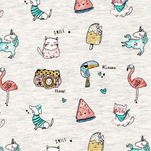 Tissu jersey Poppy Jolly animals