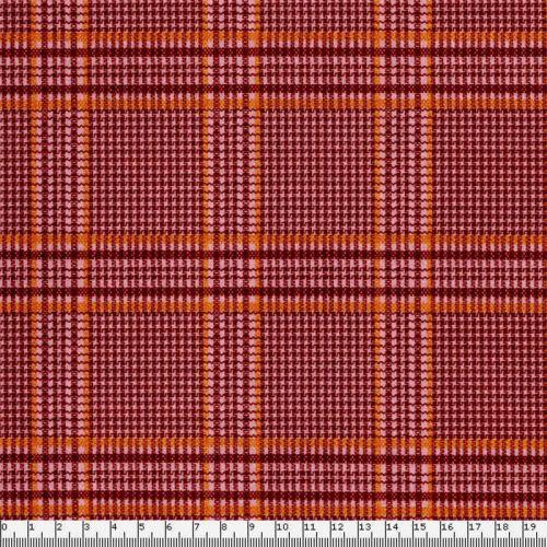 Tissu jersey punta gratté écossais bordeaux/rose 93%pol/7%el