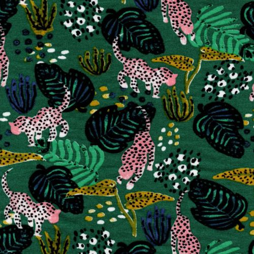 Tissu jersey panthère tropical fond vert