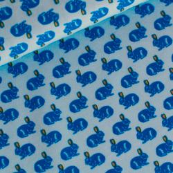 Tissu coton Rabbit race bleu