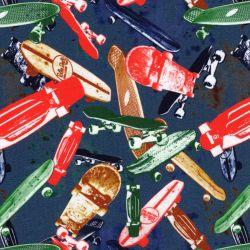 Tissu jersey skates fd bleu 95%cot/5%el larg 150 cm