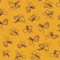 Tissu jersey pistil moutarde 95% cot/5%el larg 150 cm