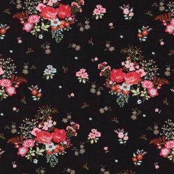 Tissu jersey jardin anglais fond noir